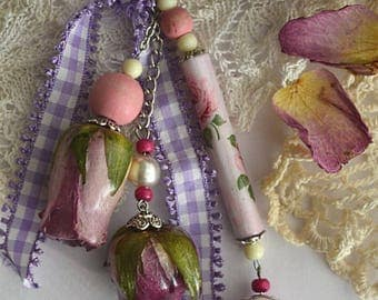 Shabby creation, real Rosebuds beads, fancy, romantic, Vintage, Shabby chic style jewelry bag