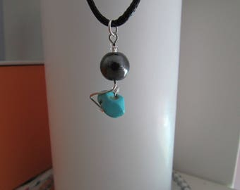 The stone HEMATITE and TURQUOISE pendant