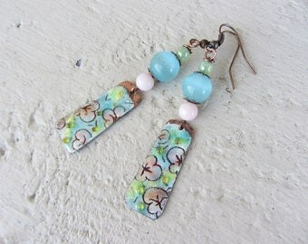 Earrings dangling copper rectangle charm enamelled flowers and glass beads and jade in pastelles tints of pink, blue and green