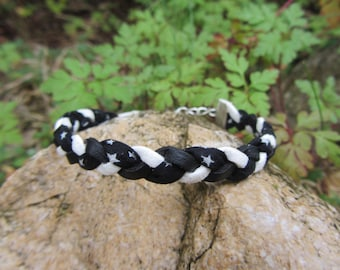 Braided Suede, leather and liberty, black and white cord bracelet, star pattern