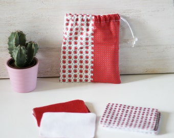 Set of 10 wipes cleansing washable pouch and red and gray