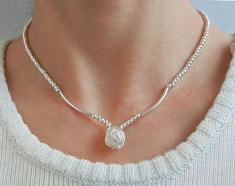 Solid 990 and 925 sterling silver ball necklace