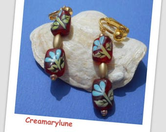 For non pierced clip earrings painted glass beads by hand
