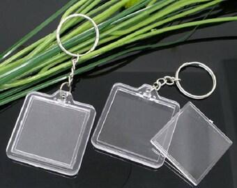 Set of 20 Photo Keychain Keyring plate Transparent plastic door keys square