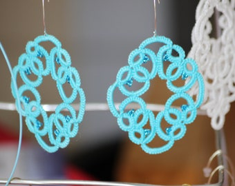 Large earrings lace turquoise cotton tatting and tatted beads