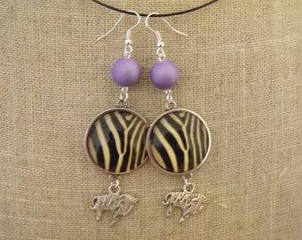 Purple cabochon 25mm Zebra bead earrings