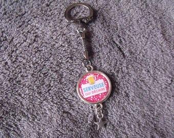 Silver key chain pink waitress