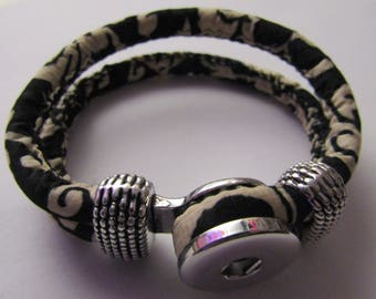snap bracelet 18mm / 20mm black and off-white fabrics