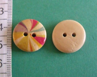 set of 2 multicolored 18mm in diameter wooden buttons