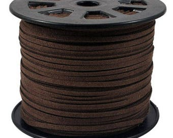 Suede cord Brown 3mm wide 1 mm thick
