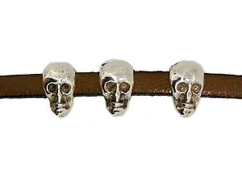 Pearl sliding skull spends leather 5mm flat sold individually