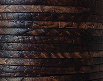 20 cm Strip 5mm flat Leather Brown worked reptile