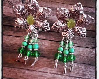 Green beads and silver filigree clip earrings