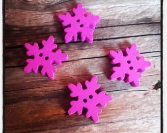 4 wood snowflake 20 mm fuchsia buttons