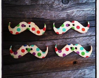 Set of 4 Wood Mustache patterned buttons peas 30 mm x 10 mm