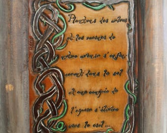 Painting wall decor quote of peace and hope, Nature, planet tooled leather