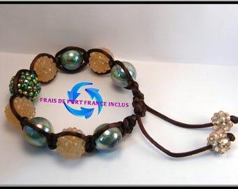 Brown/green shamballa, synthetic Shamballa bracelet.