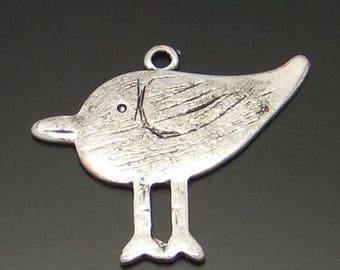 2 silver metal bird charms