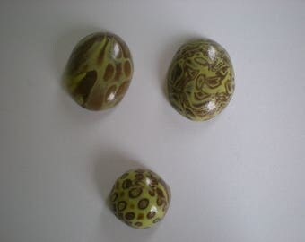 3 green polymer clay cabochons