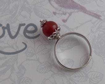 ADJUSTABLE WITH CARNELIAN STONE RING