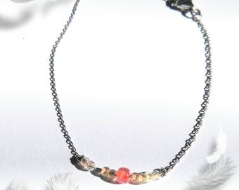 Bracelet in 925 Silver seed beads with coral and peach