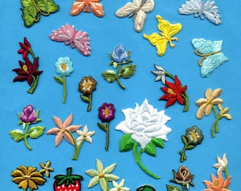 set of 24 flowers butterflies mushrooms embroidered heat-sealed assorted color