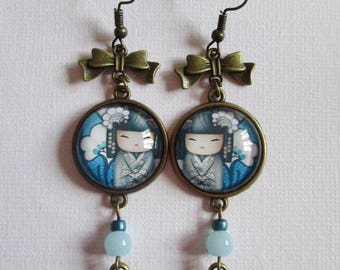 "Dangling earrings ""Blue Kokeshi"", bronze"