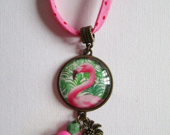 """Flamingo"" bronze cabochon necklace, costume jewelry"