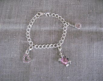 free shipping!  Pink bracelet charms