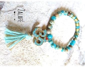 Bracelet turquoise-zen holidays-bohemian-gypsy-hippy-chic-boho-bobo-bracelet pearls jasper-Ohm-bracelet meditation-turquoise-pompon-stones