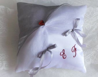 Red and white embroidered ring bearer pillow