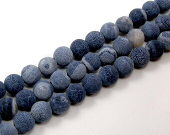 Pearl agate 6 mm green blue gray set of 10 eflorescence