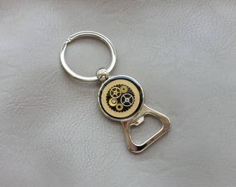 Keychain bottle opener in metal, resin and steampunk watch parts
