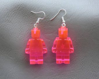 Ears snowman toy earrings in neon pink resin