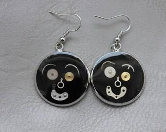 Pierced ears 2.5 cm in resin and gears Steampunk
