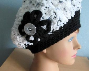 Woman black and white crochet Beanie