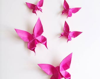 Set of 5 pink Fuchsia origami butterflies