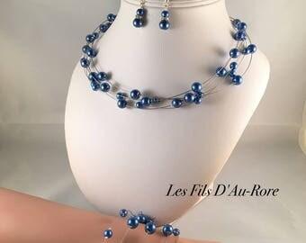 Wedding set 3 PCs Thomas necklace, earrings and bracelet in Royal Blue