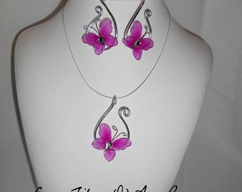 Fuchsia and silver aluminum wire Butterfly pendant