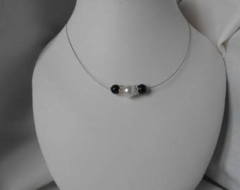 """""""Azure"""" necklace with Pearl & Black beads"""