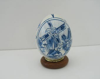 Holland windmill style Delft painted on a real duck egg