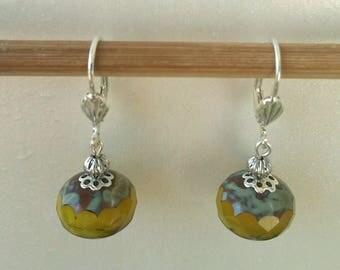 Yellow Opal Czech glass Pearl Earrings