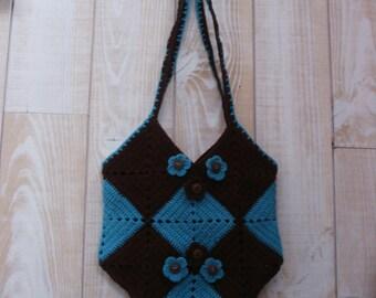 vintage blue and Brown crochet shoulder bag