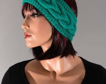 Headband, ear-warmer, headband, emerald green, with cables hand knitted