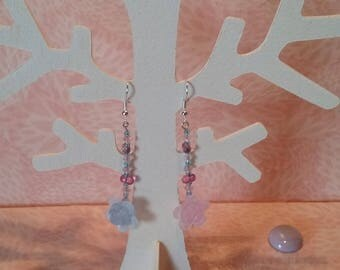 Earrings - Crystal pink blue and pink