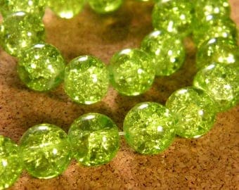 glass Crackle 10 mm - 85 beads PE150 lime green