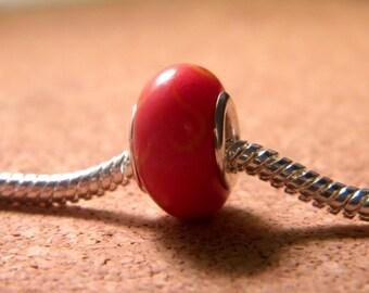 Pearl charm murano glass European - Red - 14 x 9 mm-C45-3
