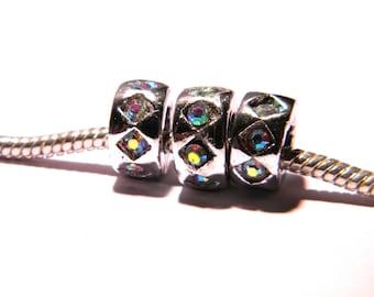 2 10 mm rondelle - rhinestone clear PG131 European charm bead