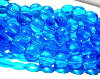 30 beads 10 mm translucent glass - round glass bead - turquoise-K08