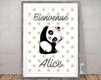 Poster or poster size A4 Panda girl personalized welcome
